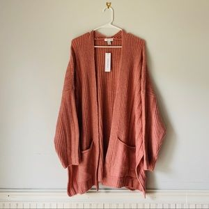 TOPSHOP Oversize Rose Open Chunky Cardigan Sweater